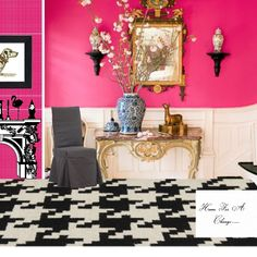 Hot Pink, created by Style Exchange member Sue Hunter on ProjectDecor.com. Love the houndstooth-patterned carpet!