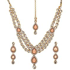 Ethnic Bollywood Indian Gold Plated Party Wear Kundan Women Necklace Set #natural_gems15