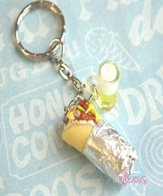 burrito and beer keychain | handmade food jewelry made from polymer clay | Jillicious charms and accessories