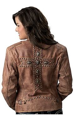 Cripple Creek Brown Studded with Cross Genuine Leather Jacket $449.00