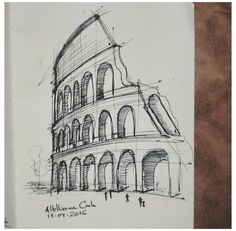 Pencil Art Drawings, Art Drawings Sketches, Cute Drawings, Architecture Drawing Sketchbooks, Architecture Concept Drawings, Conceptual Architecture, House Architecture, Building Sketch, Perspective Art
