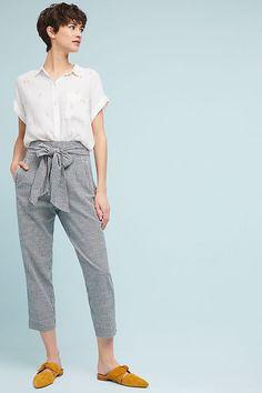 Slide View: 1: Tie-Waist Gingham Trousers