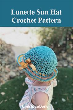The Lunette Sun Hat is a free crochet pattern in sizes for the whole family. This hat features a solid top down construction with v-stitch detail on the sides. Hat Patterns, Crochet Patterns, Free Crochet, Crochet Hats, 16 V, V Stitch, Cotton Crochet, Ear Warmers, Diy Craft Projects