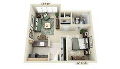 Plano de apartamento cuadrado pequeño