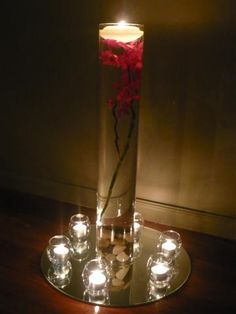 candles+water+flowers+rocks, who could ask for anything more? Floating Candle Centerpieces, Centerpiece Decorations, Flower Centerpieces, Flower Vases, Wedding Decorations, Our Wedding, Dream Wedding, Wedding Ideas, Wedding Table