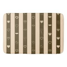 Donkey Brown Stripes Modern Heart Pattern Bath Mat - modern gifts cyo gift ideas personalize