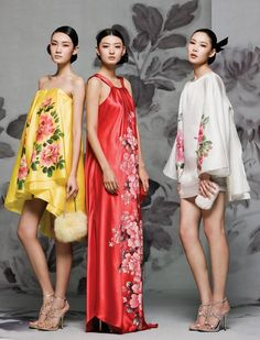 Modern Chinese Style, with traditional floral patterns on silk.