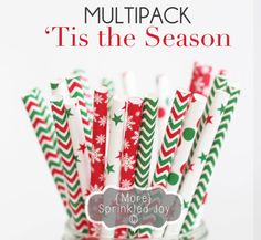 TIS THE SEASON Paper Straws Multipack by MoreSprinkledJoy on Etsy, $3.99 | parties