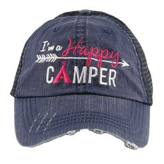 Hats or tanks { I'M A HAPPY CAMPER } { Camping hair don't care } { Camping life } { Glamping hair don't care } Embroidered distressed gray unisex trucker caps. Adjustable Velcro and hole for pony. RV there yet? Camping Hair, Camping Life, Camping Tricks, Camping Theme, Camping Stuff, Loose Fitting Tank Tops, Wholesale Hats, Vintage Trucker Hats, Pink Martini