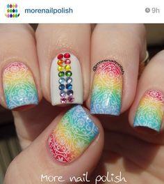 Super cute rainbow nails!!