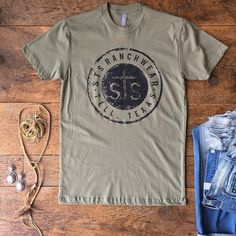 All lil casual Friday vibes for ya! That light olive color is so pretty and unique. #graphictee #stsranch #savannah7s #style