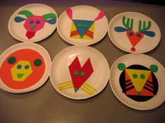 """Based on book """"Color Zoo"""" by Lois Ehlert. Craft foam glued to paper plates. I made another set of matching pieces so Angela can put them together as a puzzle."""