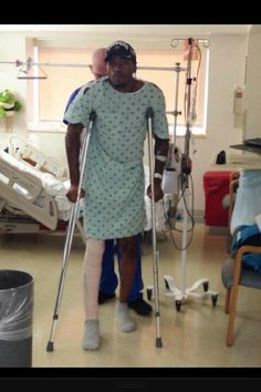 Kevin Ware, up and about after surgery.
