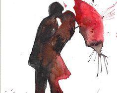 Amo Parigi Romance bacio rosso ombrello acquerello dipinto