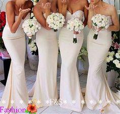 Sexy Mermaid Bridesmaid Dress, Affordable Sweetheart Sparking Mermaid Ivory Bridesmaid Dress, Long Elegant Modest Bridesmaid Dress 2014 on Etsy, $133.24 CAD