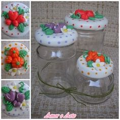 Morango, uva e pitanga, vidro decorado em biscuit (1)