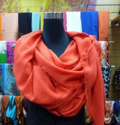 A beautiful large wool and cashmere scarf, very soft and comfortable against the skin.