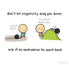 Don't let negativity drag you down. Use it as motivation to work hard Negative Thoughts, Positive Thoughts, Positive Quotes, Motivational Quotes, Inspirational Quotes, Positive Vibes, Positive Mind, Positive Affirmations, Amazing Quotes