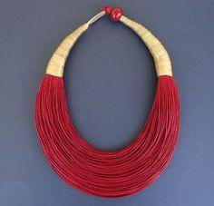 """www.cewax.fr love this statement necklace ethno tendance, style ethnique, #Africanfashion, #ethnicjewelry - CéWax aussi fait des bijoux : http://www.alittlemarket.com/collier/fr_collier_plastron_multi_rang_ethnique_en_tissu_africain_beige_prune_jaune_-15921837.html - Bijoux africain, déclaration fibre collier, Street Fashion, tendance collier, """"BOLD"""" collier"""