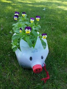 My piggy was born from a milk jug Recycle a milk jug into a cute piggy planter . Challenge yourself to plant your favorite flower or herbs from seeds. An extra inspiration for your garden ❤ The basic idea in recycling is to reuse, right? Plastic Milk Bottles, Plastic Bottle Planter, Plastic Bottle Crafts, Recycled Bottles, Milk Jugs, Milk Jug Crafts, Cute Piggies, Bottle Garden, Pet Bottle