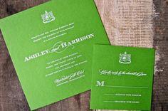 Engraved green wedding invitations I Custom by Nico and Lala