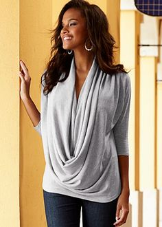 Draped Front Sweater $29    A beautiful way to be noticed! Let a dramatic cowl neck send the message for you.