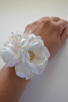 Ivory and Gold Wrist Corsage Small by TheVintageCabbgeRose