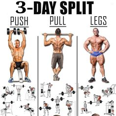 push pull workout routine It really a hard decision to choose you ideal workout routine. So i have brought to you, every information you will need to manage a routine. A perfect split is also mentioned below 3 Day Split Workout, Push Pull Legs Workout, Workout Splits, Push Workout, Gym Workout Chart, Full Body Workout Routine, Gym Workout Tips, Routine Work, Mens Full Body Workout