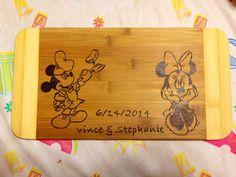 Mickey and Minnie cooking cutting board  on Etsy, $25.00 CAD
