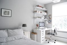 My guest room and home office makeover Before and after: the transformation of a dull spare room in a London flat into a calm, relaxed guest room and home office Guest Bedroom Home Office, Bedroom Office Combo, Spare Room Office, Home Office Space, Home Office Design, Bedroom Workspace, Office Makeover, Cubicle Makeover, Decoration