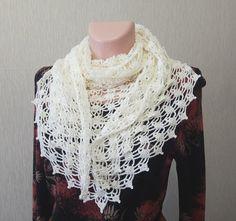 Handmade shawl, Shawl warm, crochet shawl, shawl lace, shawl wool, white shawl, triangle crochet scarf
