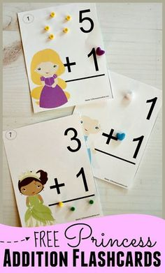 FREE Printable Princess Addition Flashcards - help kids practice addition with these math flashcards. These are great for achieving math fluency for kindergarten, first grade, 2nd grade kids. Kids can learn them by memorizing facts or along with math manipulatives. #freeworksheetsforkids #mathflashcards #addition #firstgrade #2ndgrade #3rdgrade #homeschool #mathpractice #123homeschool4me Subtraction Activities, Math Activities For Kids, Math Manipulatives, Fun Math Games, Math For Kids, Princess Activities, Counting Activities, Addition Flashcards, Flashcards For Kids