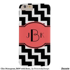 Bold Monogram Phone Case, Bold Black & White with Rose; white chevron zigzag pattern on black background. Personalize with your monogram on the matching Rose/Black label. This design is available for multiple phone or device styles. Select CUSTOMIZE to choose your device option.