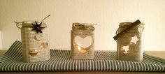 Für gemütliche Stunden :)  Teelicht aus Marmeladeglas + Zeitung