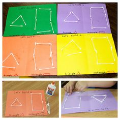 building shapes with cotton swabs - a shape recognition, math/geometry and fine motor activity that's perfect for preschoolers