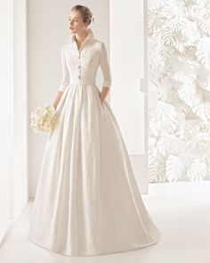 Rosa Clara 2017 Wedding Dresses with Greek Goddess Glamour Classic tailored three-quarter-sleeve silk brocade dress with open button collar and pleated skirt, in natural. Modest Wedding Dresses, Designer Wedding Dresses, Bridal Dresses, Wedding Gowns, 2017 Wedding, 2017 Bridal, Tailored Wedding Dress, Rosa Clara Wedding Dresses, Wedding Dressses