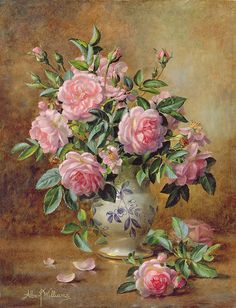 A Medley Of Pink Roses Painting by Albert Williams
