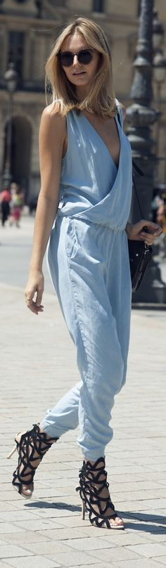 Denim Jumpsuit + Black Cutout Heels