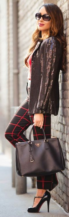 Bordeaux Faux Leather Sequin Blazer with Plaid Pants and Christian Louboutin by A Keene Sense of Style