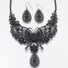 """WeddingDepot.com ~ Butterfly Jewelry Set - Black ~ This black butterfly filigree jewelry set includes a necklace that is adjustable from 15"""" to 18"""" and matching earrings measuring 1.5"""".  This set is hypo allergenic and lead & nickel free.  These sophisticated accessories will complete the bridal look for the wedding."""
