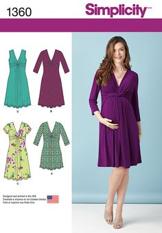 DIY Maternity dress has flattering twist and gathered detailing at bodice front with v-shaped neckline. Dress can be knee length or mini with sleeveless, short or three-quarter sleeves.