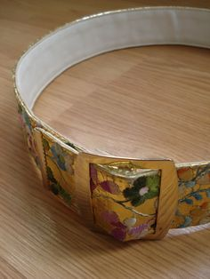 1960s Wide Embroidered Gold Metallic and Leather up by bycinbyhand, $40.00