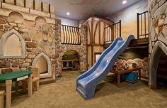 untergeschoss spielraum kinderzimmer gestalten spielzeug rutsche