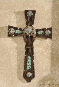 New Faux Leather Western Wall Cross Turquoise Belt Design Accent Decor Brown Art | eBay