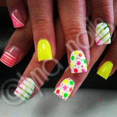 Neon mixup nail art design