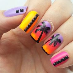 Sunset Tropical Nail Art Ideas picture 3