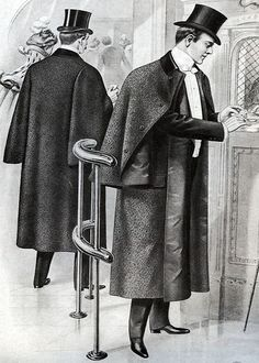 Most often associated with Sherlock Holmes, the inverness cape is a weatherproof outer coat which was often worn in 1880s London. Description from whitechapeljack.com. I searched for this on bing.com/images