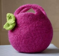 Felted pink berry bag.