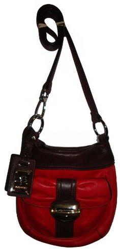 Women's B Makowsky Genuine Leather Crossbody Handbag (Red/Brown) $139.0
