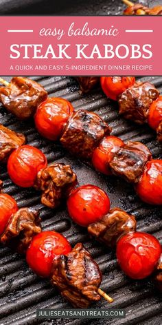 Warm summer nights call for Balsamic Steak Skewers! 5 ingredients are all you need for this quick and easy dinner. Marinated in a tangy balsamic vinaigrette and grilled to perfection with cherry tomatoes, you will be enjoying this recipe on repeat at back Barbecue Recipes, Grilling Recipes, Beef Recipes, Bbq, Steak Skewers, Ribeye Roast, Slow Cooker Italian Beef, Healthy Ground Beef, 5 Ingredient Dinners